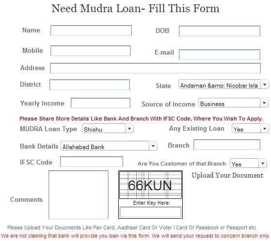 Online MUDRA Loan Application Form.